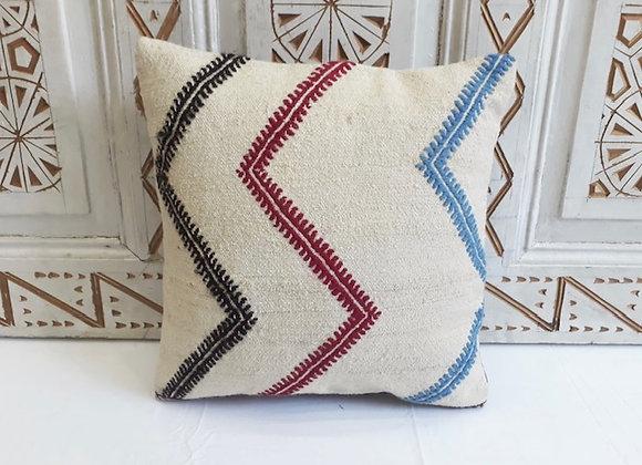 Vintage Kilim Pillow -40x40cm White chevron