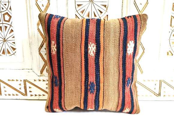 Boho Beautiful Vintage Kilim Cushion - Camel & Stripe