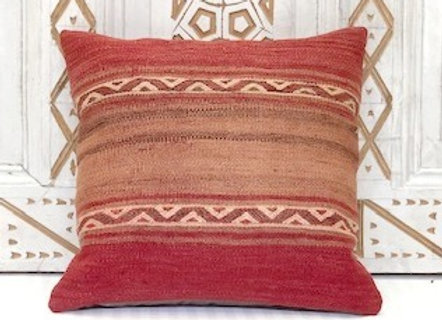Vintage Turkish Kilim Cushion -Sunset bands