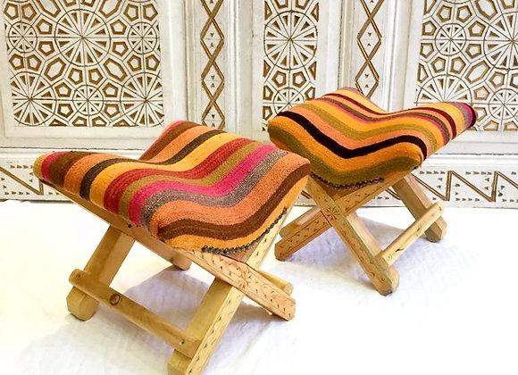 Turkish Teahouse Stool - Vintage Kilim                                 Ebony Sun
