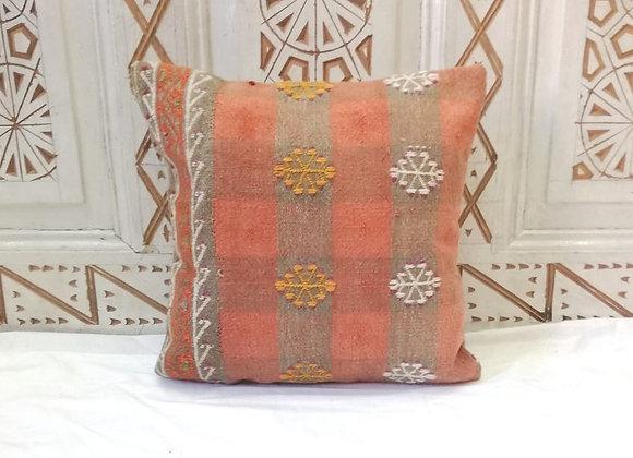 Vintage Kilim Pillow                   40 x 40 cm - Tangerine flower