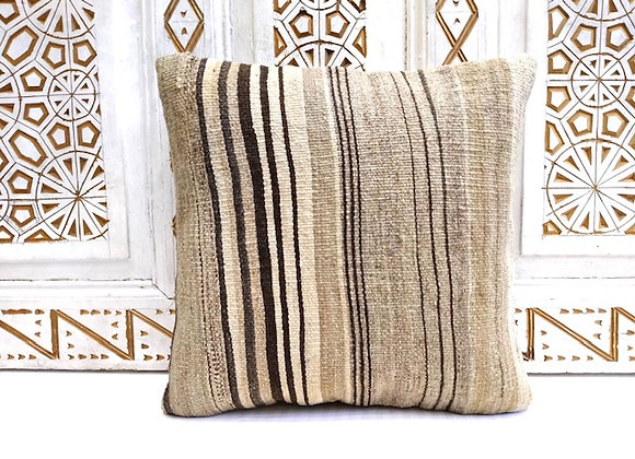 Vintage Kilim Throw Pillow - handwoven undyed wool