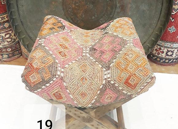Turkish Teahouse Stool - Vintage Kilim - Soft boho pink