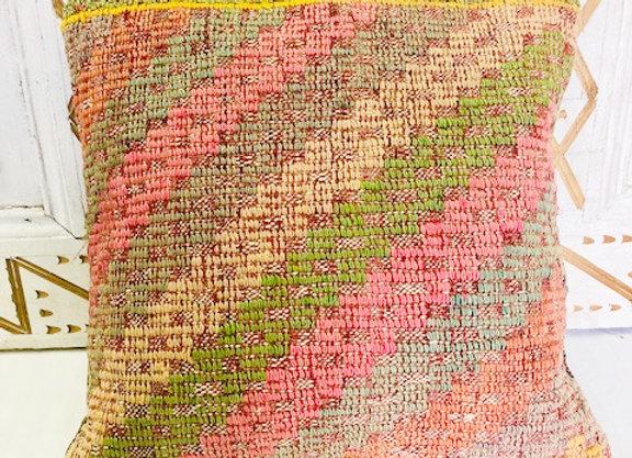 Vintage Boho Kilim Pillow -  40 x 40 Pastel textured