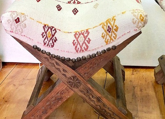 Boho Handmade Turkish Teahouse Stool Kilim