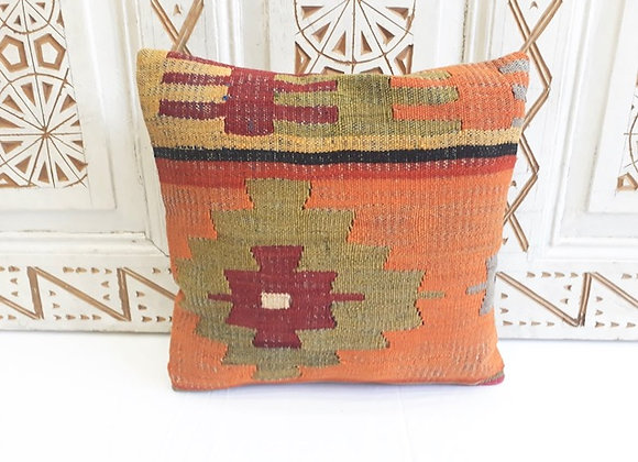 Vintage Kilim Pillow - Orange Bold