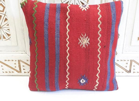 Vintage Kilim Pillow -40x40cm Bold Scarlet