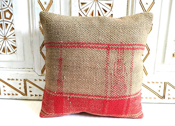 Vintage Kilim Handwoven Throw Pillow - 40 x 40 cm Grey/Red
