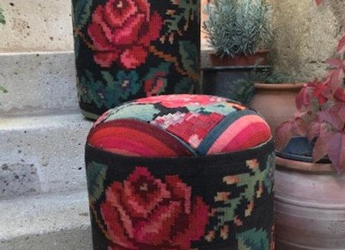 Karabagh Rose -Vintage kilim Pouf x 4