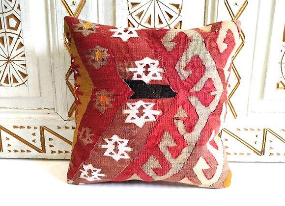 Vintage Kilim Throw Pillow - Bold Anatolian Star