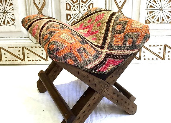 Turkish Teahouse Stool - Vintage Kilim                               Subtle boho