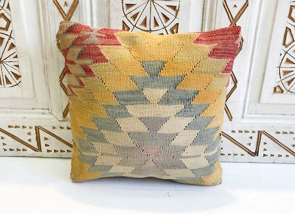 Vintage Turkish Boho Pillow          Sunburst Pastel Blue