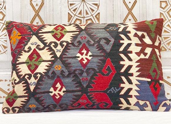 VintageTurkish Kilim Pillow-Blue Goddess - Large