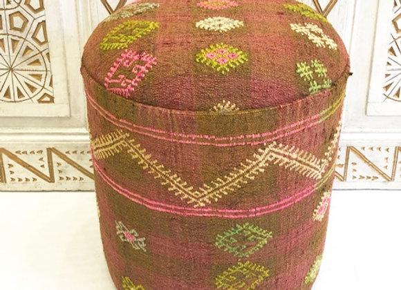 Vintage Kilim Pouf - Pink & Green