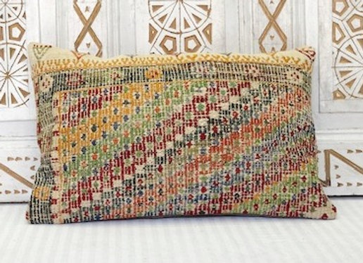 Vintage Turkish Kilim Pillow - Small Boho Lumber