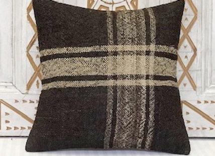 Vintage Turkish Kilim Cushion - Natrural undyed Black