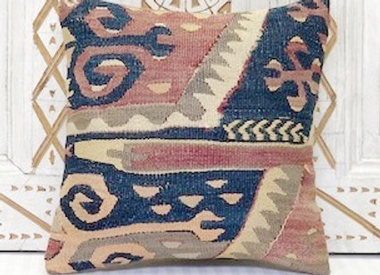 Vintage Turkish Kilim Cushion - Soft pastel Aubergine  + Navy