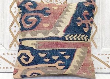 Vintage Turkish Kilim Cushion - Soft pastel Aubergine + Navy