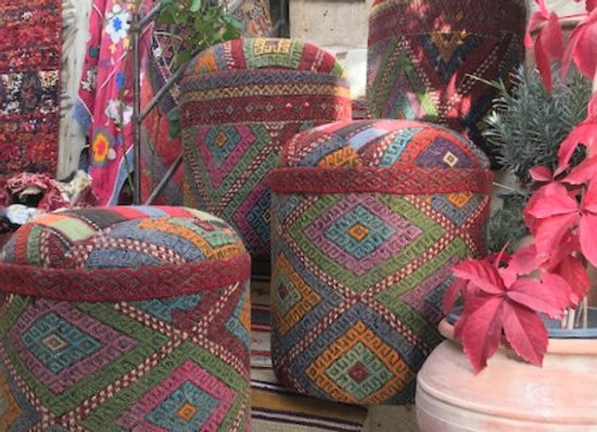 Multi color textured Kilim Pouf - Only 1 left !