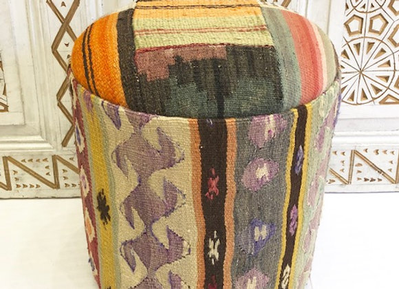Vintage Kilim Pouf - Multi Pastel
