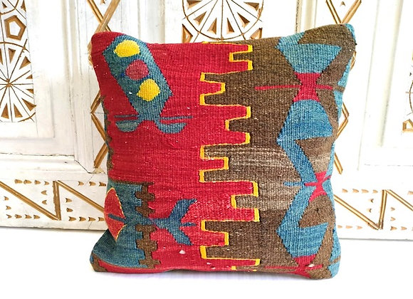 Vintage Kilim Throw Pillow -Bold Multi color Anatolian design