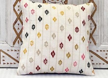 Vintage Turkish Kilim Cushion -White Diamond x 2