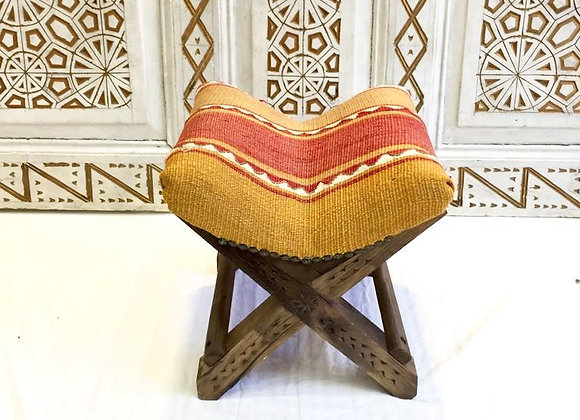 Turkish Teahouse Stool - Vintage Kilim                               Rich Safron