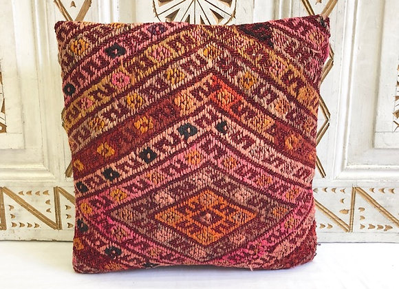 Vintage Turkish Kilim Pillow - Textured Cicim ( one of a pair )