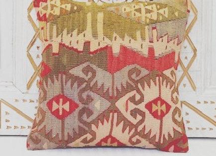 Vintage Turkish Kilim Cushion - Soft pastel Goddess Design
