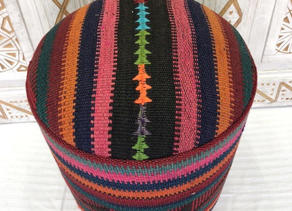 Vintage Kilim Pouf -  Multi Stripes x 2 - Double Stripe Edging