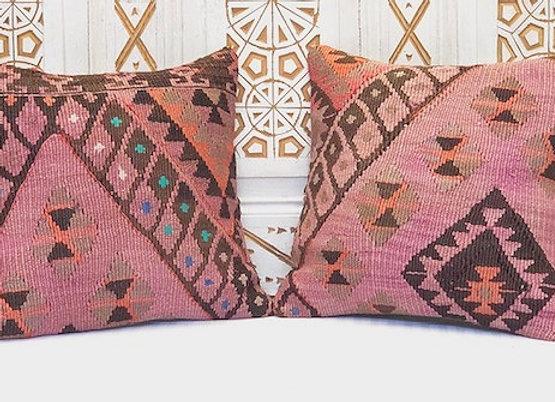VintageTurkish Kilim Pillow-Nomadic purple/pink 40 x 40cm