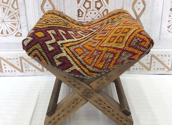 Turkish Teahouse stools - Wood + Vintage Kilim