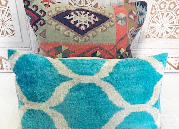 Vintage Boho Kilim Pillow -Turquoise + blue