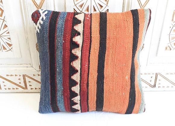 Vintage Kilim Pillow - Blue and Tangerine