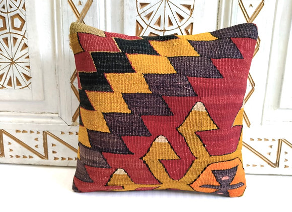 Vintage Kilim Pillow - 40 x 40 cm -Traditional Autumn
