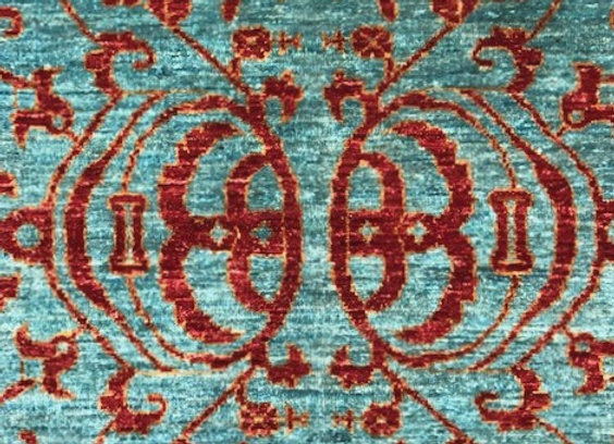 Turquoise and Deep Sienna Area Rug - New!