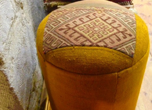 Saffron Sensation - Vintage Kilim Pouf