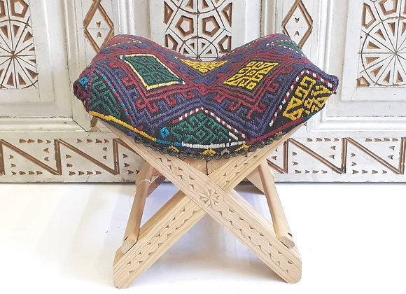 Handmade TurkishTeahouse Stool - Blue Multi color