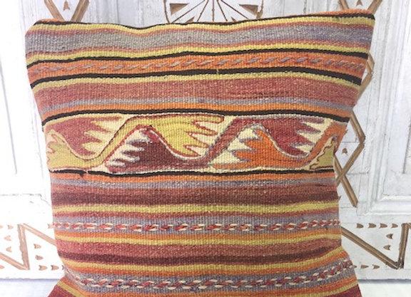 Vintage Boho Kilim Pillow -  40 x 40 cm Semi Pastel Nomad stripe