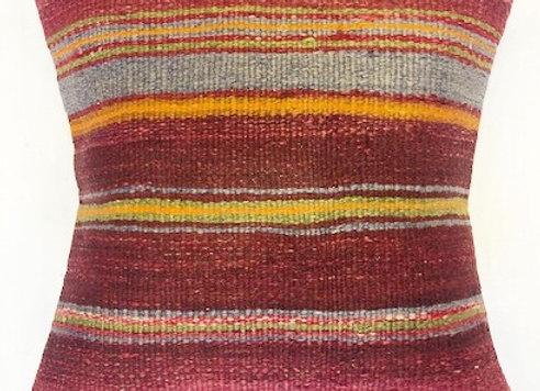 VintageTurkish Kilim Pillow -Nomadic bold stripe