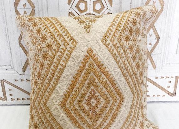Vintage Boho Kilim Pillow - Cream and Caramel textured motifs