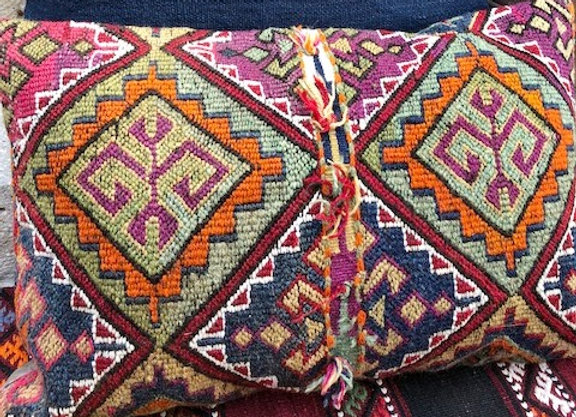 So Boho Vintage Kilim Pillow 64 x 40 Multi Colour with centrai tassels