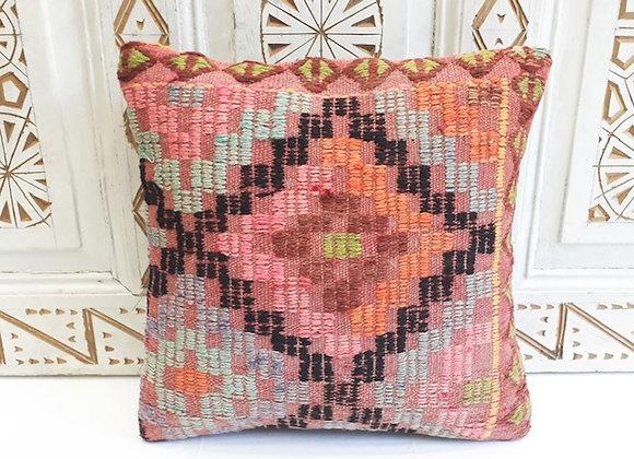 Vintage Cicim Kilim Pillow -Textured color pop