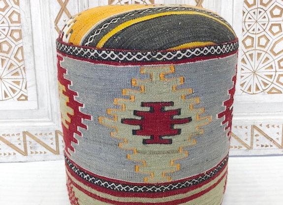 Vintage Kilim Pouf - Geometrical Boho