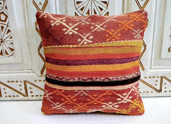Vintage Kilim Pillow - 40 x 40 Textured Sun