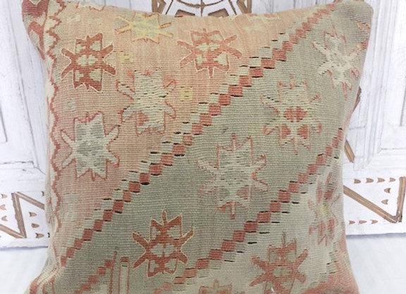Vintage Boho Kilim Pillow - Soft pastel star motif
