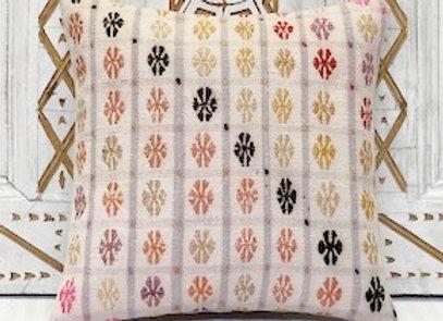Vintage Turkish Kilim Cushion -Soft  Blush 40x40cm
