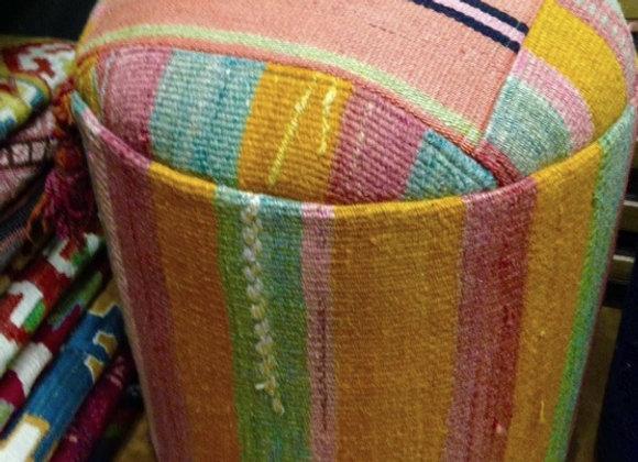Boho Stripe - Vintage Kilim Pouf