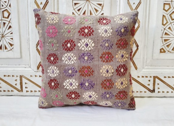 Vintage Turkish Boho Pillow    Lilac/Grey Flowers