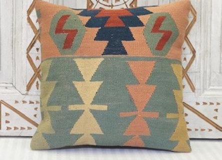 Turkish Kilim Cushion - Soft pastel geometric